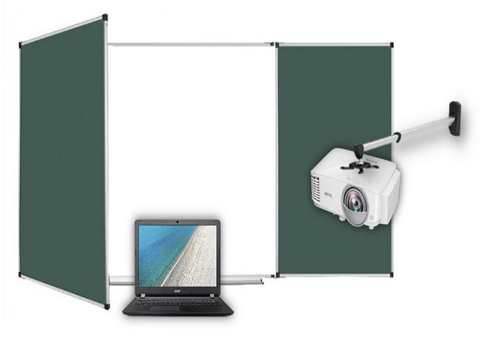 Интерактивная доска трёхсегментная с магнитно-меловыми боковыми элементами.